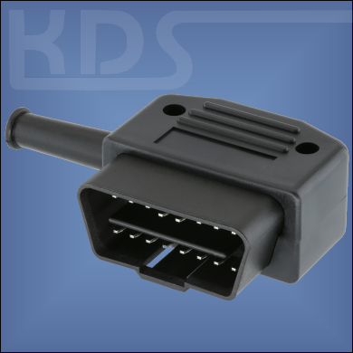 OBD-2 Connector 26-PVC - (J1962 Typ A, 12V male) - Right Angled - with 35mm PVC Strain relief