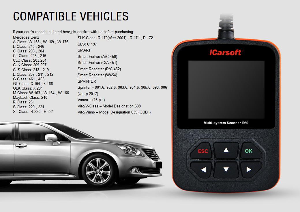 iCarsoft i980 for Mercedes Benz / Smart - OBD Diagnostic