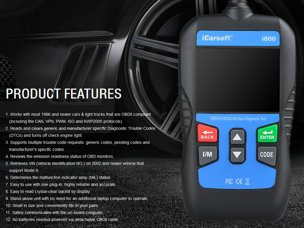 icarsoft i800 auto obdii eobd scanner in schwarz kds. Black Bedroom Furniture Sets. Home Design Ideas