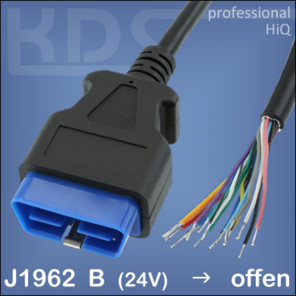 OBD-2 Cable 'cut off' L-A3 / 3.0m - HiQ (J1962M Type B -> open end)