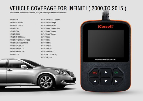 iCarsoft i903 for Nissan / Subaru / Infiniti - OBD Diagnostic Tool