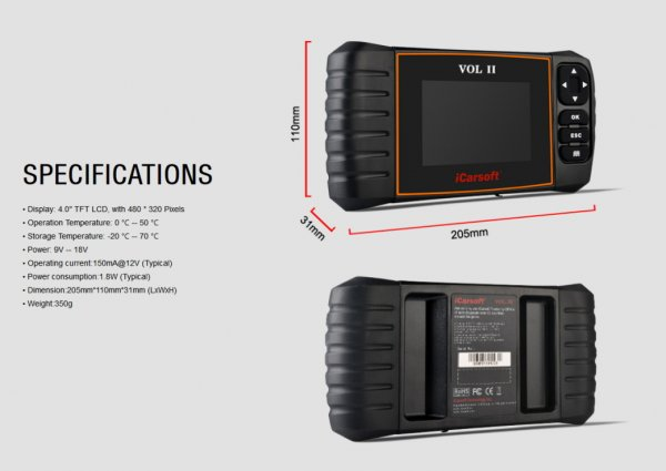 iCarsoft VOL II for Volvo / Saab - OBD Diagnostic Tool