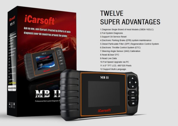 iCarsoft MB II for Mercedes and Smart